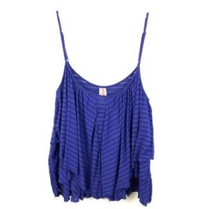 Free People Tank Cold Shoulder Striped Blue Cami M